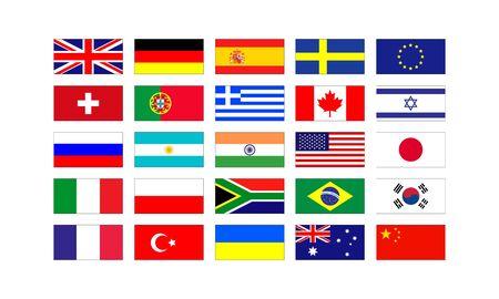 Conjunto de banderas populares de los países de Europa y América aislado sobre fondo blanco.