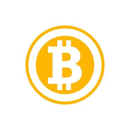 Símbolo de Bitcoin en estilo plano. Ilustración de criptomoneda