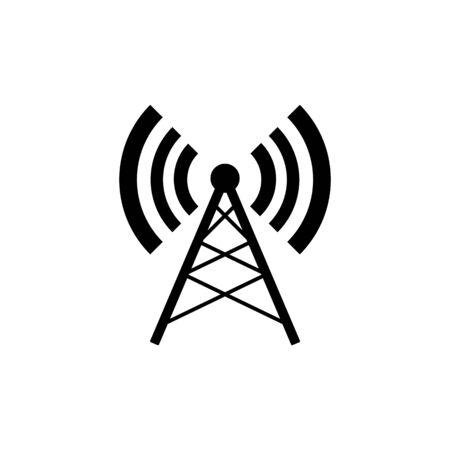 Symbole d'antenne radio sans fil isolé sur fond blanc.