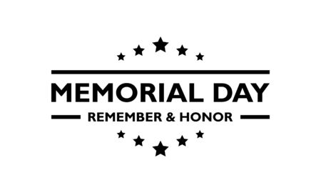 USA Memorial Day  greeting black on a transparent background. Vectores