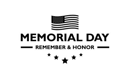 USA Memorial Day typography in black on a transparent background.