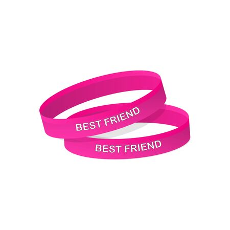 Friendship bracelets. Bracelets with text best friend. Friendship Day.  イラスト・ベクター素材