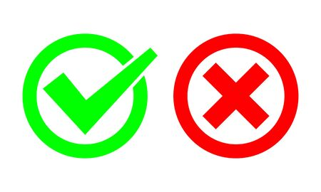 Tick and cross signs. Green checkmark OK and red X icons. Simple marks graphic design. symbols YES and NO button for vote, decision, web.