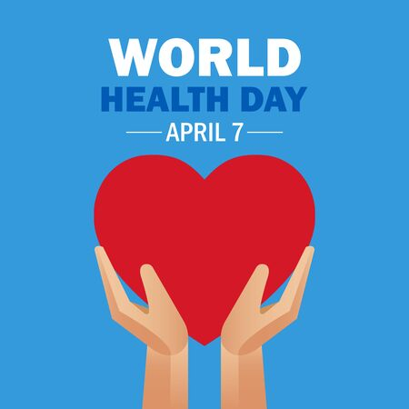 World Health Day. Hands holding a heart on a blue background. Health care. Ilustração