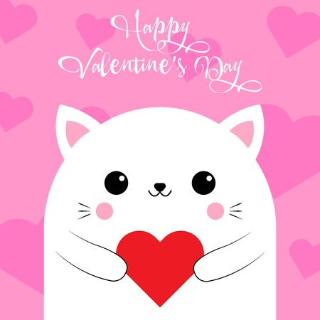Happy Valentines Day greetings from a cute cat with a heart on a pink background. Love card. Vector illustration. EPS 10