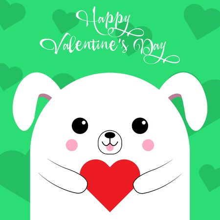 Happy Valentines Day greetings from a cute dog with a heart on a green background. Illustration