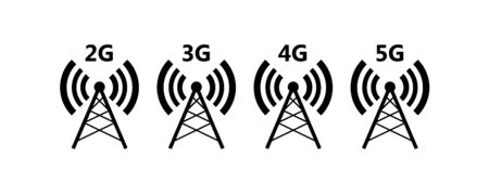 Network coverage level symbol 2. Network level on mobile devices. Network 2G (E), 3G, 4G, 5G icon isolated on white background.