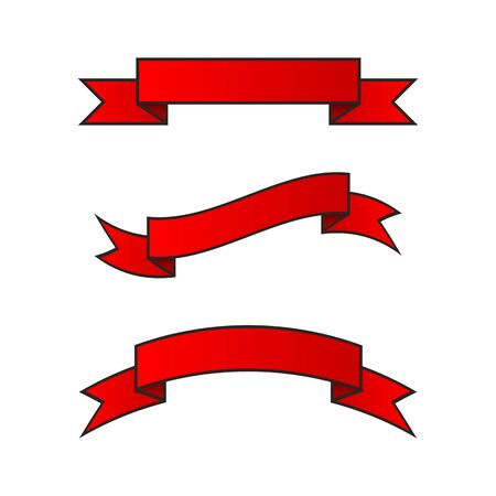 Set of horizontal red ribbons on a transparent background. Vector illustration. EPS10