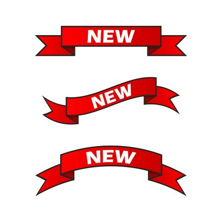 A set of red ribbons with the words New on a transparent background. New product. Vector illustration. EPS10