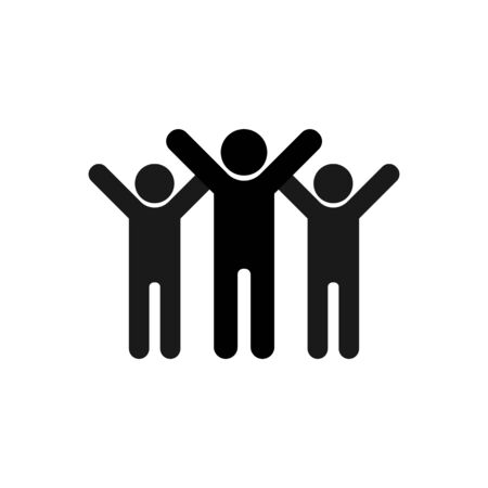 Friendship icon. Symbol of joyful friends with their hands up. A group of people celebrating the victory.