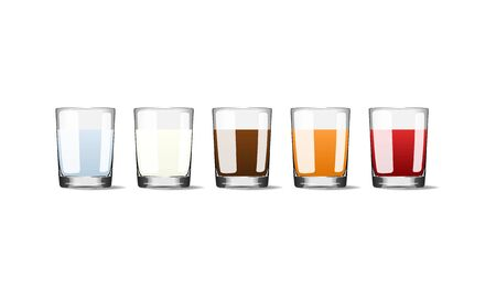 Popular drinks in glass cups realistic vector illustration. Banque d'images - 137668784