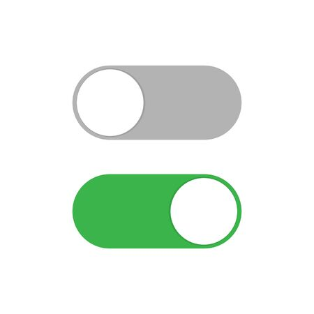 Power ON OFF Switch slider button in gray and green colors. Vector illustration EPS 10