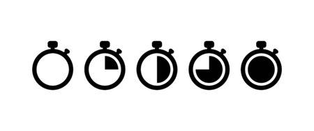 Countdown Timer vector icons set on white background. EPS 10  イラスト・ベクター素材