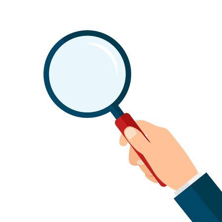 Magnifying glass in hand. Stock Vector Illustration EPS 10 Çizim