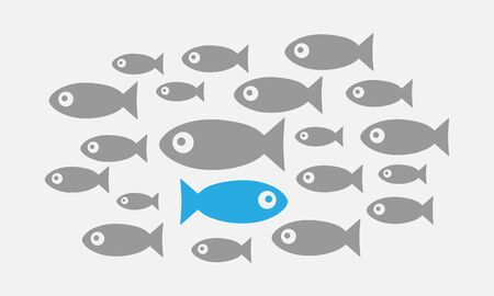 Individuality concept. Not like everyone else. Fish swims against the tide Vector EPS 10