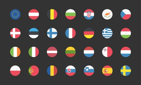 European Union Flags Web Buttons round in flat. Vector EPS 10