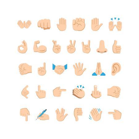 Emoji hand icons and symbols set. Hand gestures and signs. Vector EPS 10 Ilustración de vector