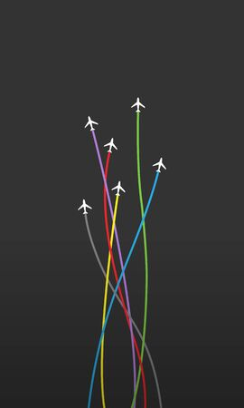Airlines way and airplanes concept. Vector illustration. EPS 10