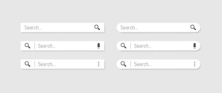 Web search. Search bar set vector interface elements with search button.