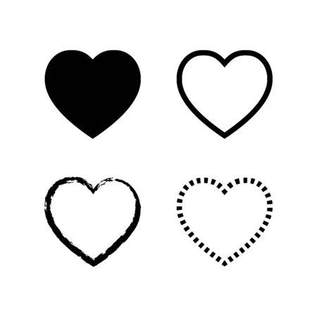 Heart icon set. Heart symbol in different styles. Illusztráció