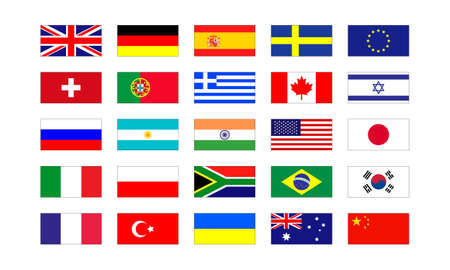 Set of popular country flags isolated on white background Vector EPS 10
