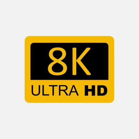 8K Ultra HD logo, 8K High Definition. Vector illustration.