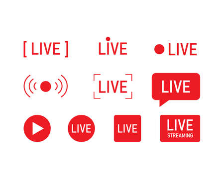 Live streaming icons set. Web TV and online broadcasting symbols.