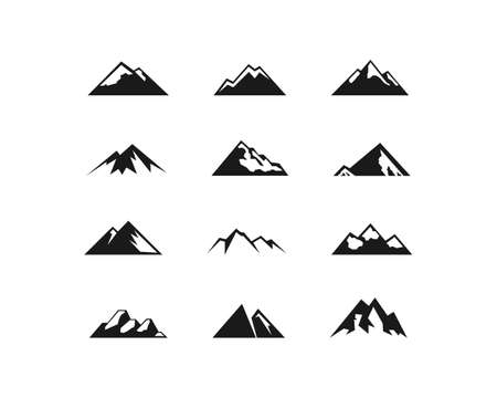 Vector mountains icons set. Mountains shape symbol isolated Vector EPS10 일러스트