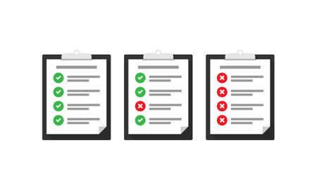 Flat check list vector icon set. Check list tasks completed and not completed, Vettoriali