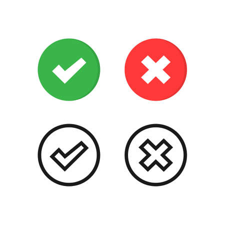 Vector checkmark icons set. Check mark and cross symbol isolated Vector EPS10