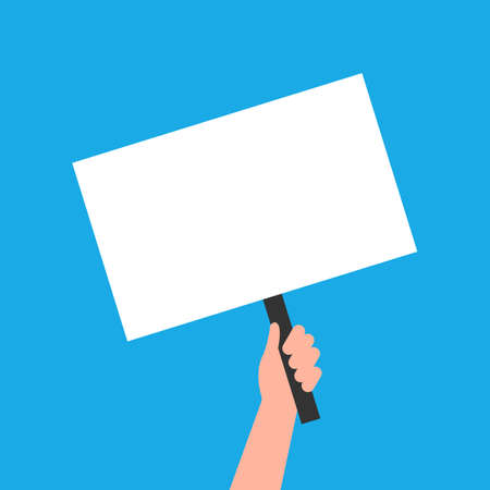 Hand holding a sign. Empty sign blank on blue background. Vector EPS10