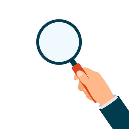 Hand holding magnifying glass isolated. Magnify lens in hand. Vector EPS10.
