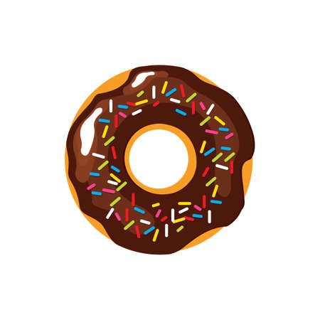 Donut in chocolate glaze and colored sprinkles Sweets vector illustration EPS10