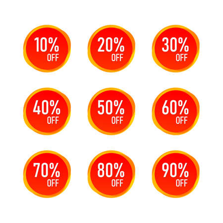 Red Sale 10 - 90 Percent OFF Discount Label Tag Isolated Vector 向量圖像
