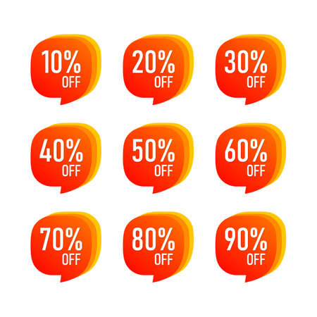 Abstract Sale 10 - 90 Percent OFF Discount Label Tag Isolated Vector