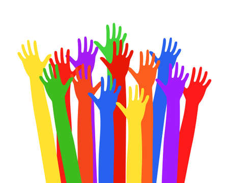 Multi-colored hands raised up Vector illustration EPS10 Vettoriali