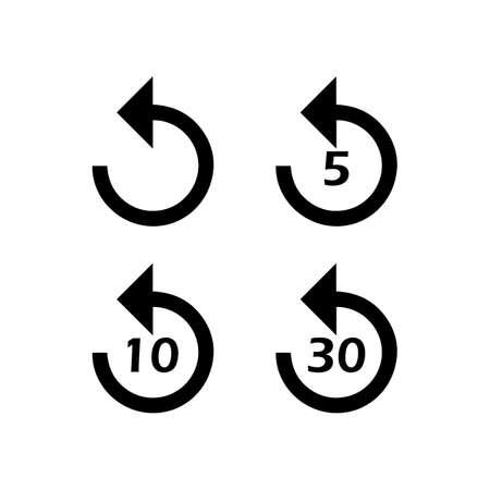 Return icon or rewind to 5, 10 and 30 sec. Return icon set Vector EPS10 Ilustração
