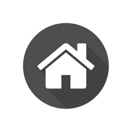 Flat Design Vector Home Icon, Gray and White Shape Circle Button. House Symbol Vector illustration EPS10 矢量图像