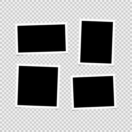 Photo frames with shadow set on transparent background Vector illustration EPS10 向量圖像