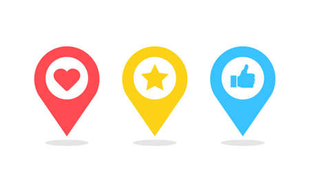 Map pin icon set. Red heart, yellow star and blue like in marker pin symbol Vector illustration EPS10 向量圖像