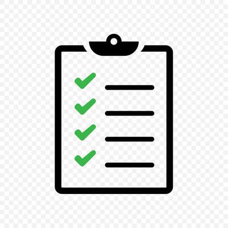 Cheklist clipboard vector icon. Check list symbol isolated Vector EPS 10