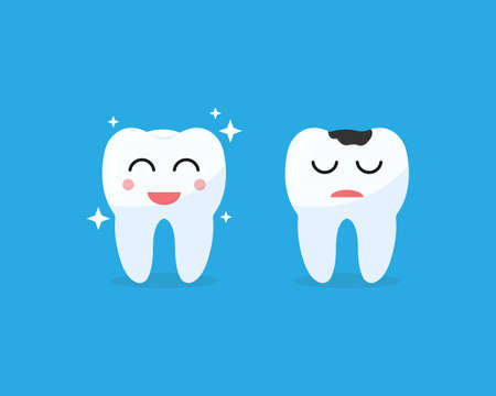Healthy and unhealthy tooth illustration. Positive and negative teeth smile on blue background