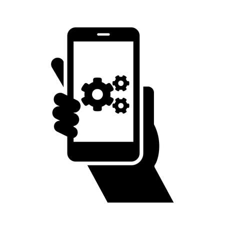 Smartphone settings vector icon. Phone with setting gear in display isolated Vector illustration EPS 10 Иллюстрация