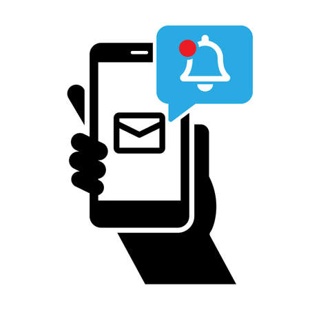 Mobile phone chat message notifications vector icon. Smartphone with message in screen Vector illustration EPS 10