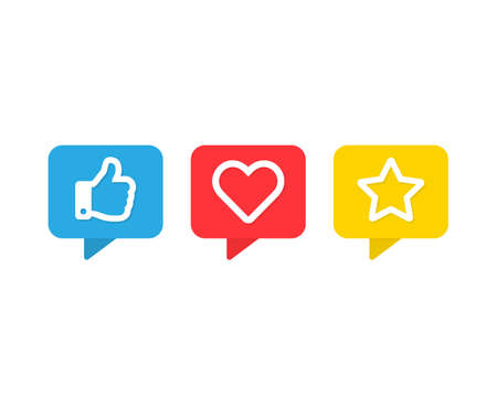 Social media vector icons set. Thumbs up like heart and favorite star symbols isolated Vector illustration EPS 10 Иллюстрация