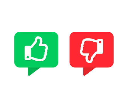 Thumbs up thumbs down vector icons. Like and dislike symbols isolated Vector illustration EPS 10