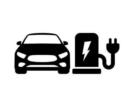 Electric car charge vector icon. Electric refueling. Eco transportation symbol isolated Vector illustration EPS 10