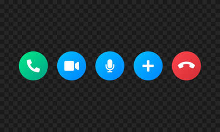 Call screen template vector icons. Video call symbols isolated on black background. Vector illustration EPS 10
