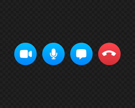 Video call screen template vector icons. Video call symbols isolated on black background. Vector illustration EPS 10 Иллюстрация