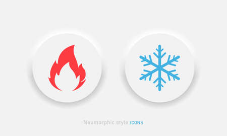 Hot and cold vector icon in neumorphic style. Fire and snow buttons in neumorphism ui design for mobile or desktop apps Vector EPS 10 Иллюстрация
